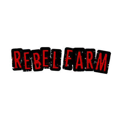 Red grunge letters Rebel Farms